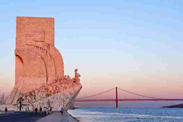 Lisbon Portugal Monument to the Discoveries and 25th April Bridge #lisbonportugal