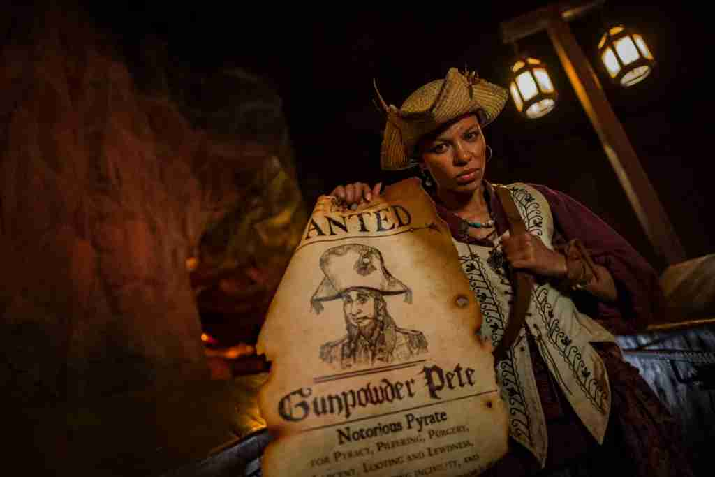 """For the first time, live pirates invade Pirates of the Caribbean during Mickey's Not-So-Scary Halloween Party at Magic Kingdom Park. A new story line for the attraction allows guests to join the pirates in a search for the rogue Gunpowder Pete. This is just one of the many fun new experiences guests enjoy during the family-friendly nighttime event. The specially ticketed evening includes trick-or-treating, greetings with favorite characters in Halloween costumes, """"Happy HalloWishes"""" fireworks display and """"Mickey's Boo-to-You Halloween Parade."""" Mickey's Not-So-Scary Halloween Party takes place select nights Aug. 17- Oct. 31 at Walt Disney World Resort in Lake Buena Vista, Fla. (Matt Stroshane, photographer)"""
