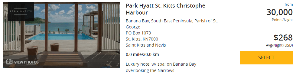 Park Hyatt St. Kitts Christophe Harbour price June 20-27 2020