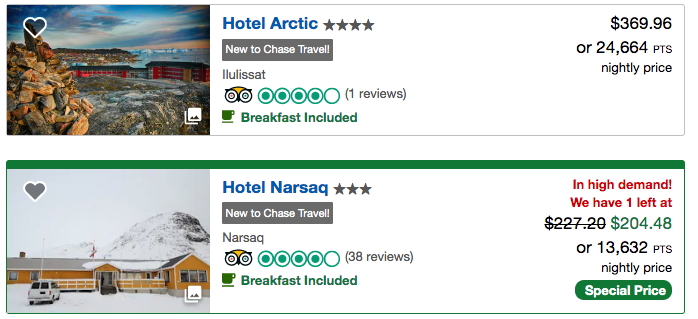 Greenland hotels with Chase Ultimate Rewards points
