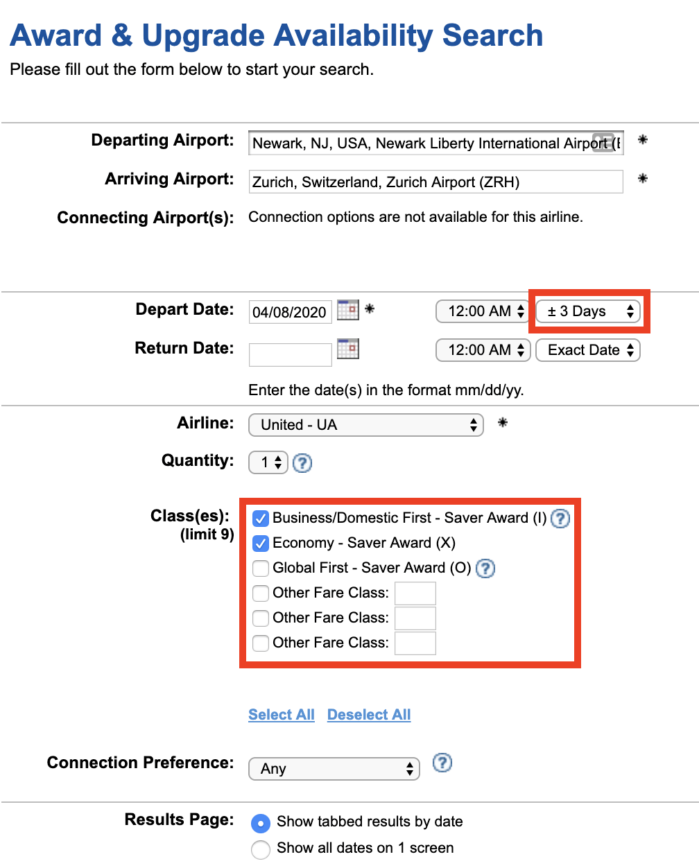 Using ExpertFlyer to Search for Award and Upgrade Inventory