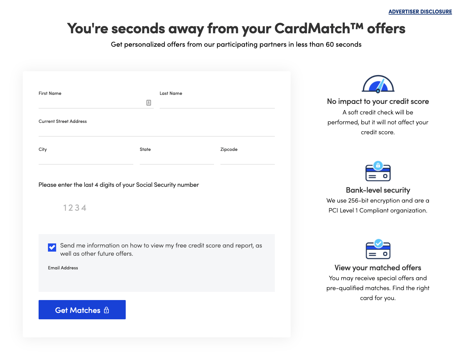 CardMatch information form