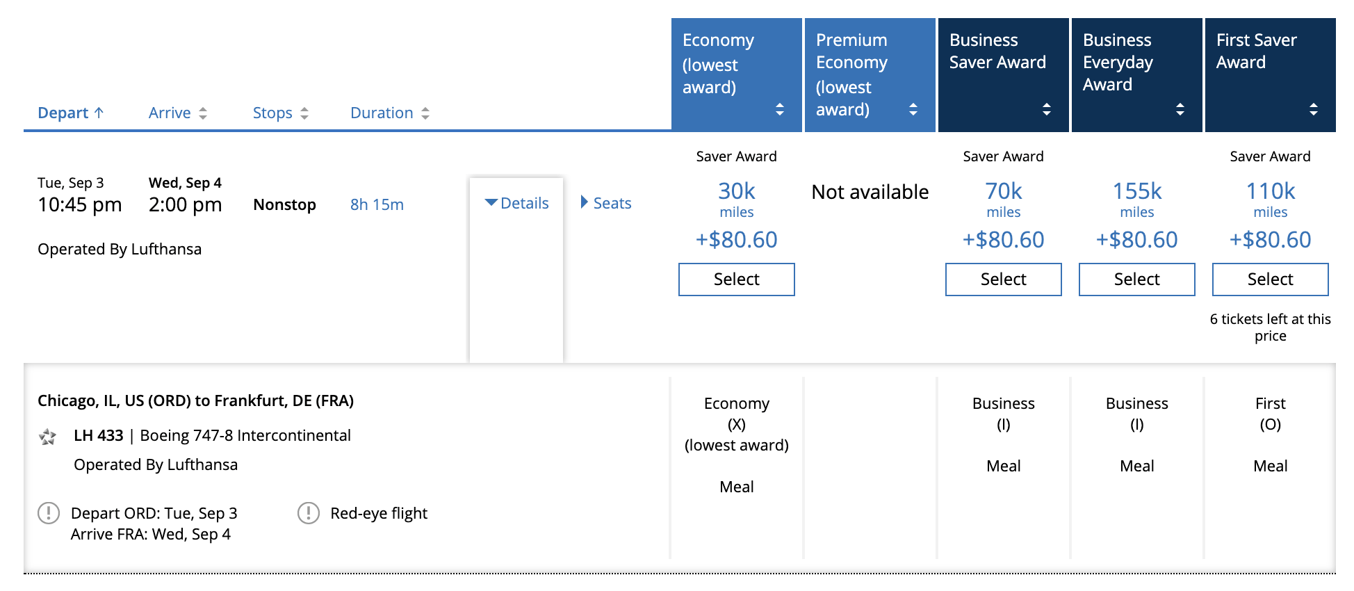 Lufthansa first class redemption rates through United MileagePlus