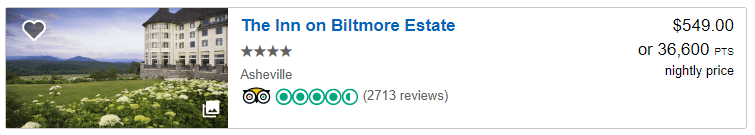 The Inn on Biltmore Estate December 2019 prices