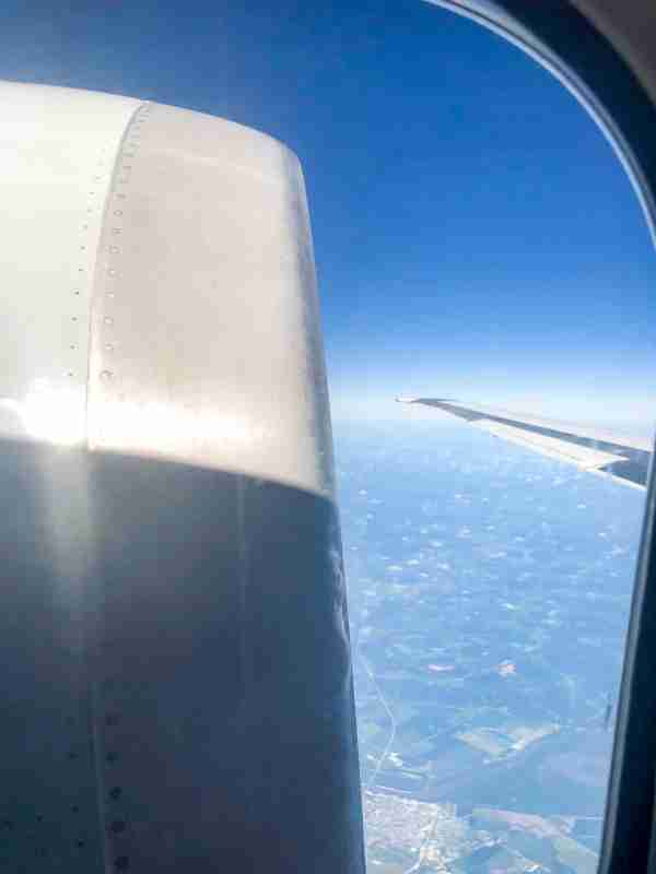 A view of the tail-mounted engine and wing while Flight 80 was en route to Chicago. (Photo by Zach Wichter/The Points Guy)