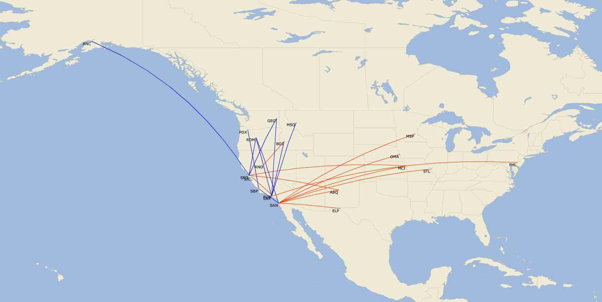 Alaska Airlines will add 10 new routes (blue) and drop 11 routes (red) in a shift back to the Western US. (Map by Diio by Cirium)