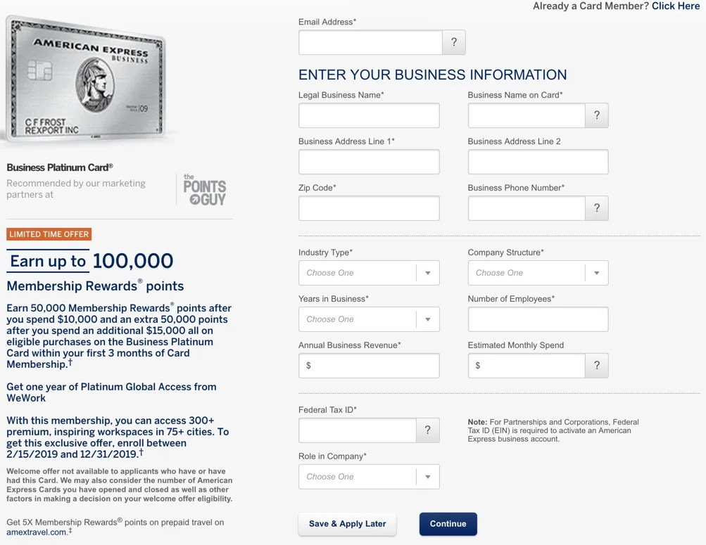 How to fill out an Amex business card application