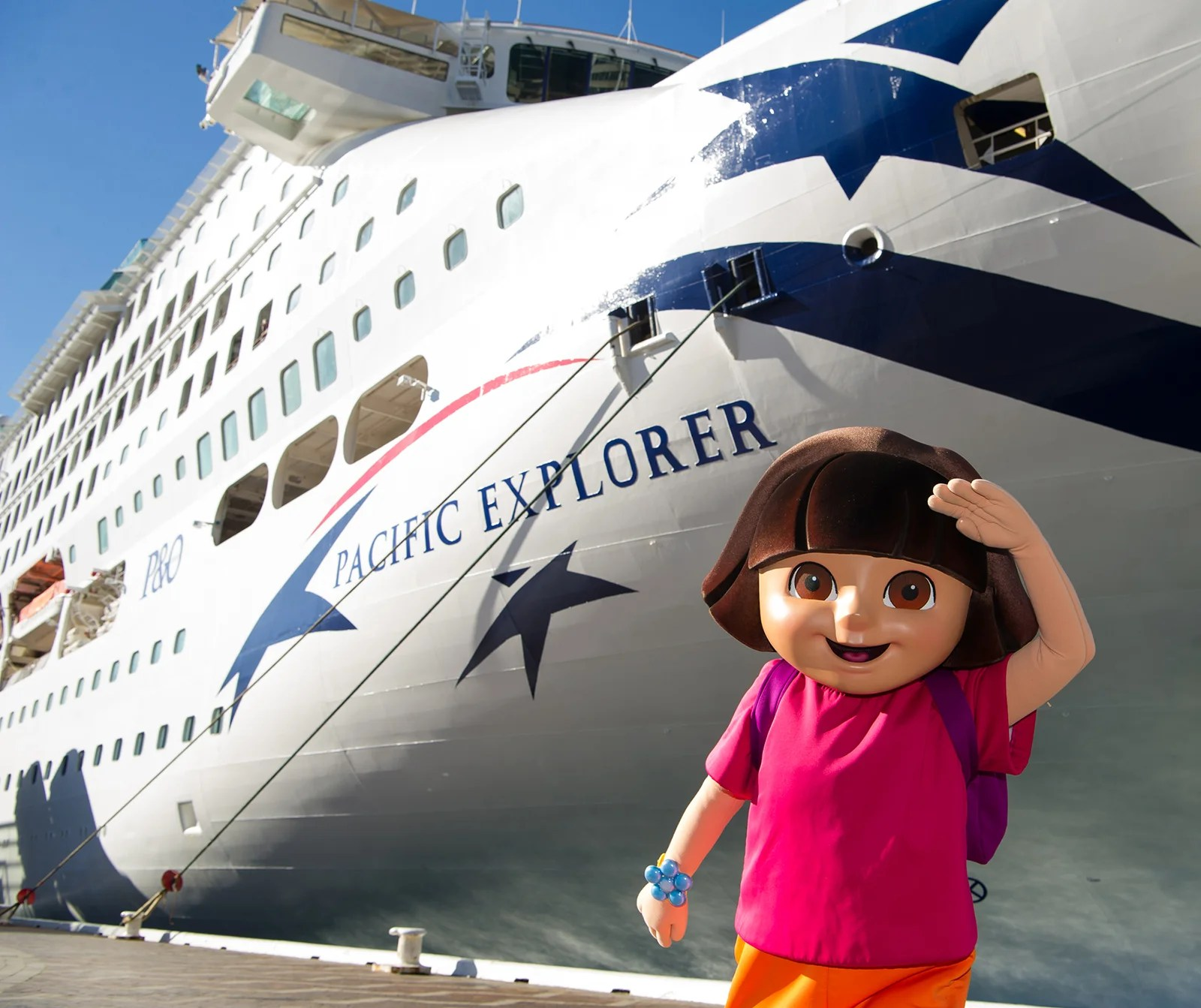 SYDNEY, AUSTRALIA - JULY 02:  Dora the Explorer with the Pacific Explorer during the official naming ceremony of P&O's newest ship 'Pacific Explorer' at the Overseas Passenger Terminal on July 2, 2017 in Sydney, Australia. Dora the Explorer was named as the ships godmother and Nickelodeon arranged some special slime for the occasion.  (Photo by James D. Morgan/Getty Images)