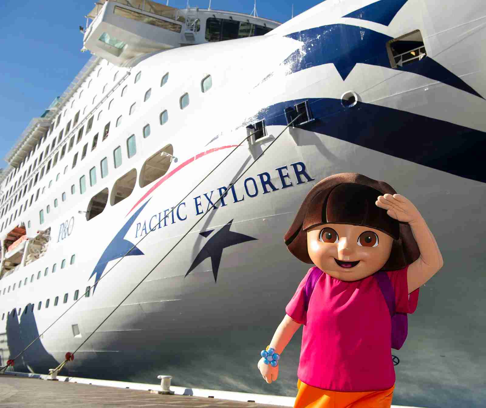 SYDNEY, AUSTRALIA - JULY 02:  Dora the Explorer with the Pacific Explorer during the official naming ceremony of P&O