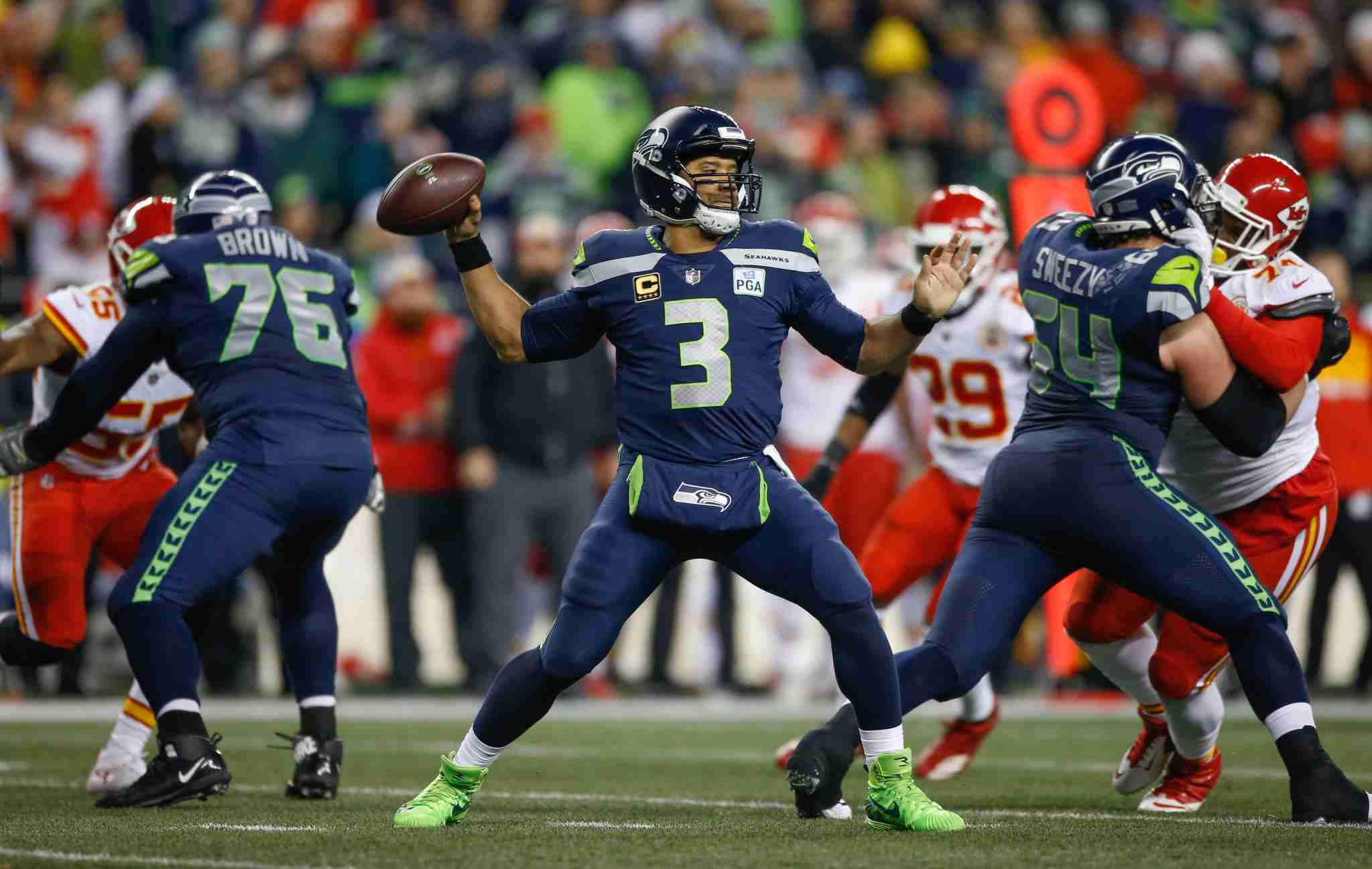 Russel Wilson during a game against the Kansas City Chiefs. (Image by Otto Greule Jr/Getty Images)