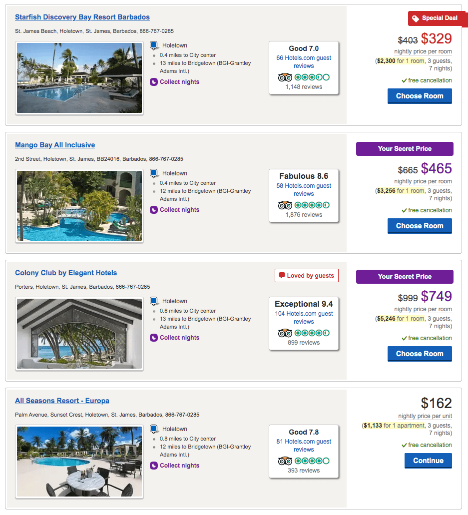 Here are a few of the hotels in St. James parish on Barbados that are bookable through the Hotels.com/venture portal.
