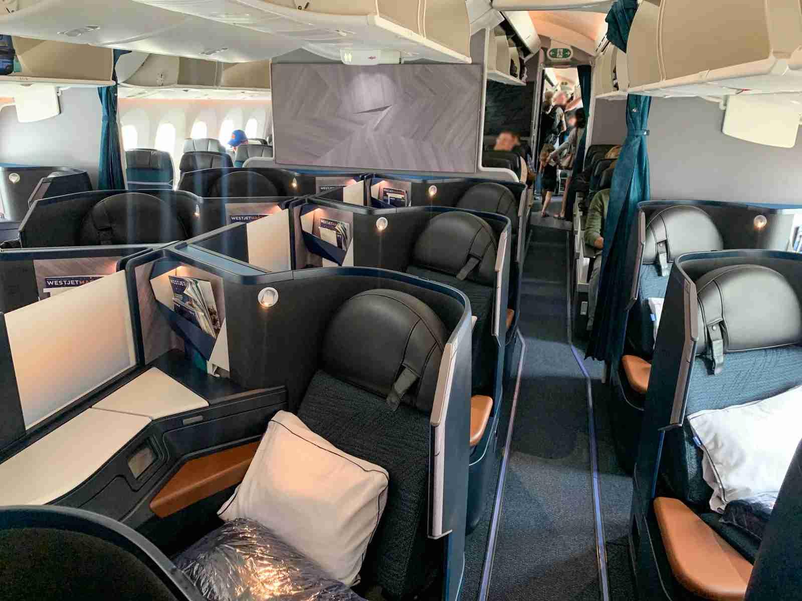 The biz cabin on a WestJet 787 (Photo by Nick Ellis/The Points Guy)