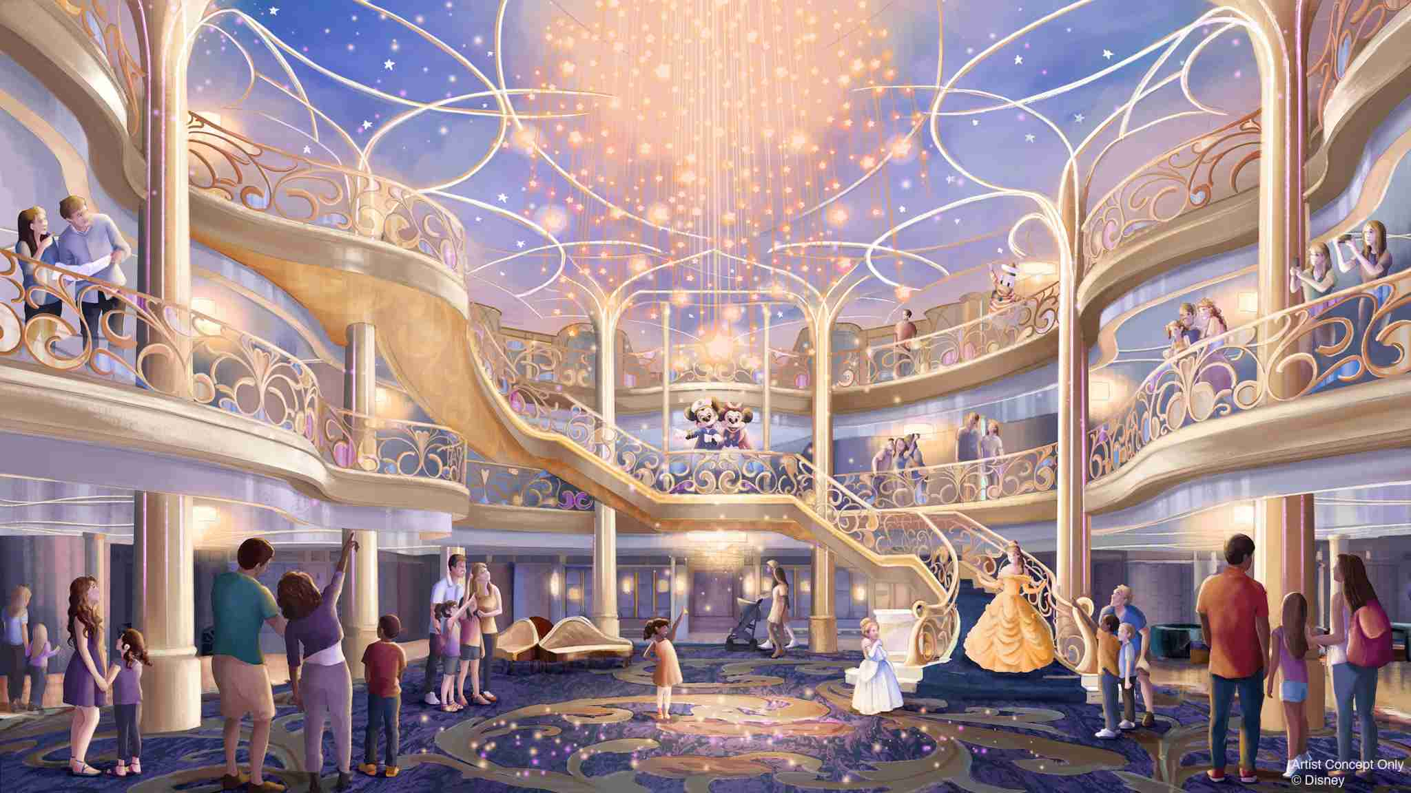 The swoon-worthy three-story atrium of Disney Wish. (Photo courtesy of Disney Cruise Line)