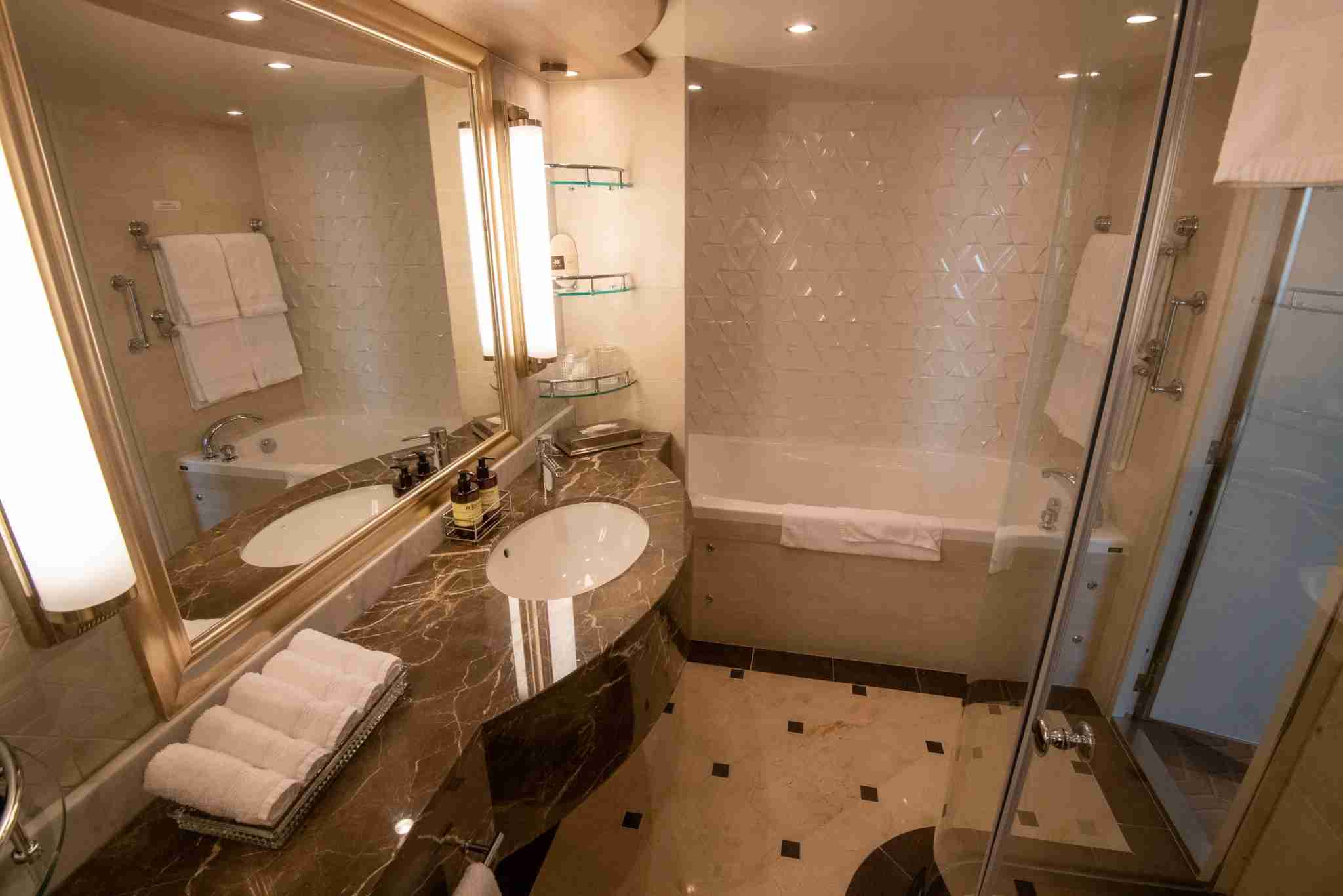 The master bathroom of a Sky Suite on Sky Princess.(Photo by Gene Sloan / The Points Guy.)