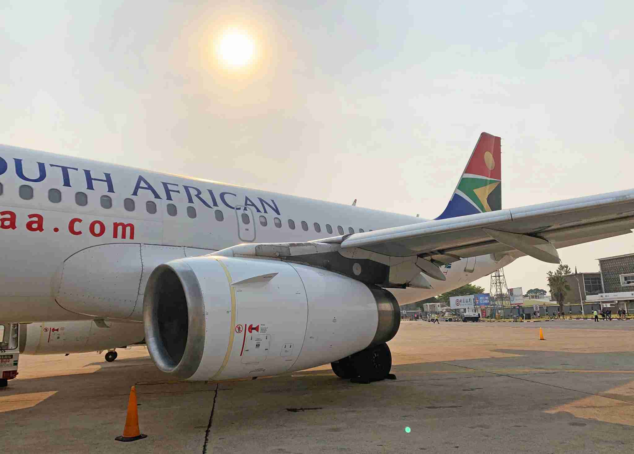 South African Airways Airbus A319 in Lusaka (Photo by Patrick Smith)