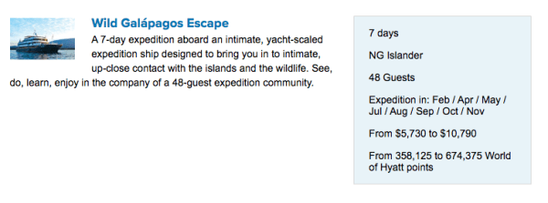 Visit hyatt.expeditions.com to price out Lindblad voyages using your Hyatt points.