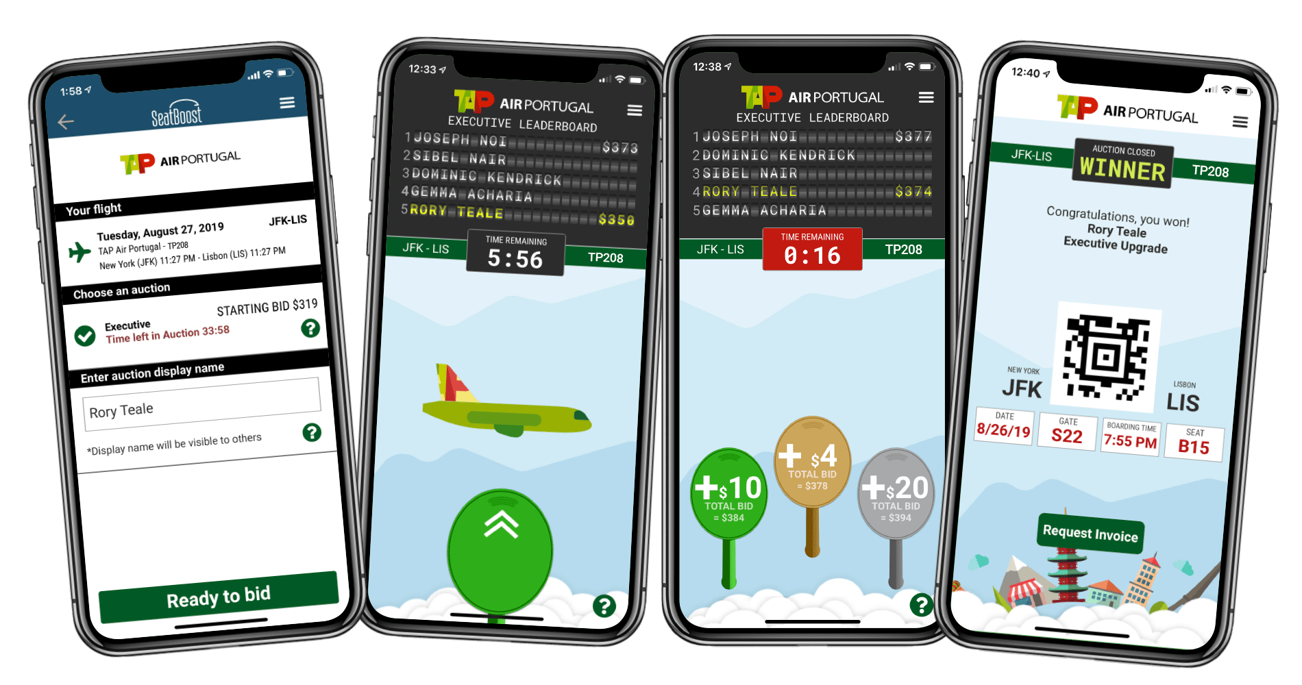 SeatBoost/TAP Air Portugal upgrade apps. (Image courtesy of SeatBoost)