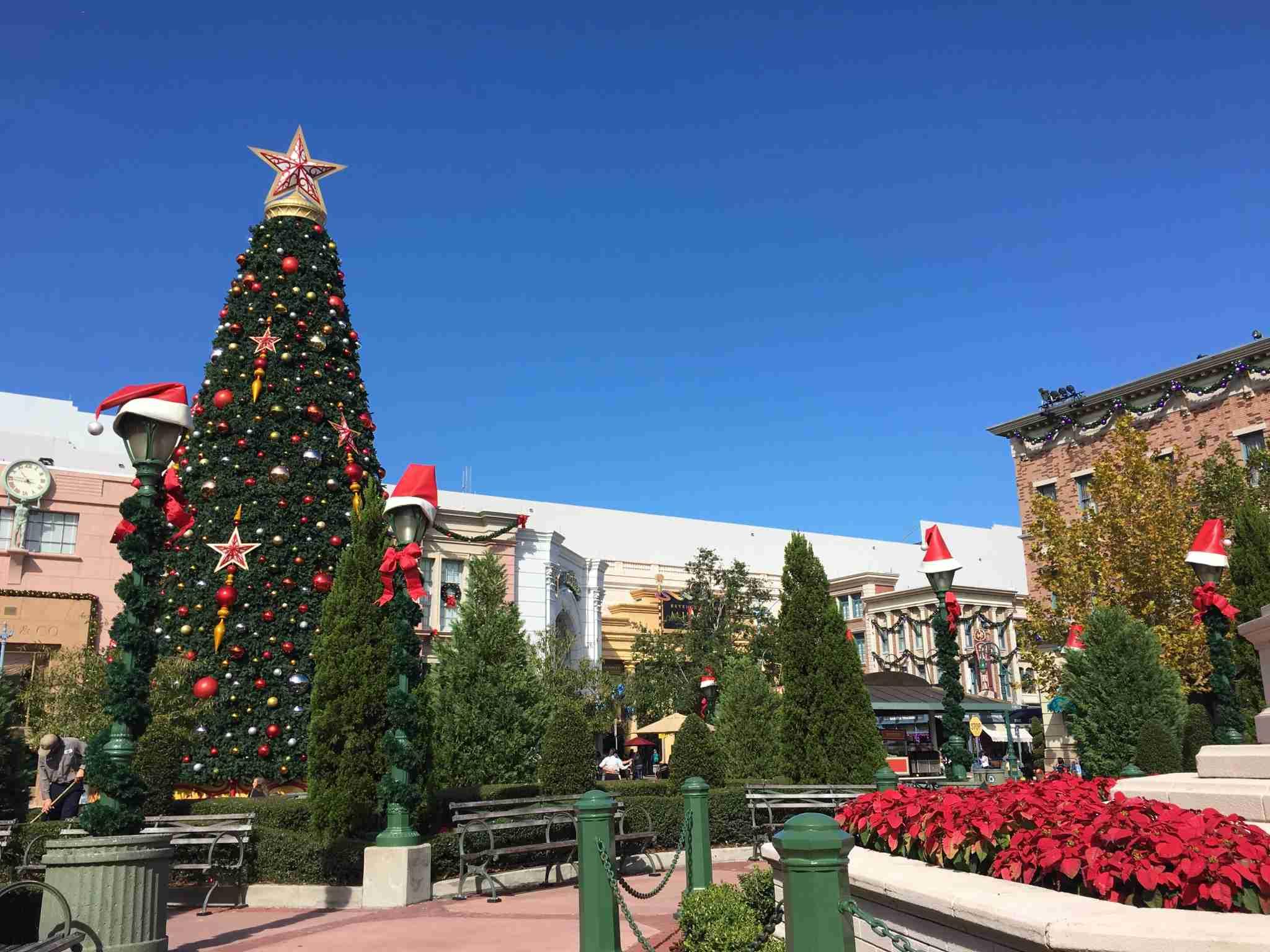 Holiday decor at Universal Studios