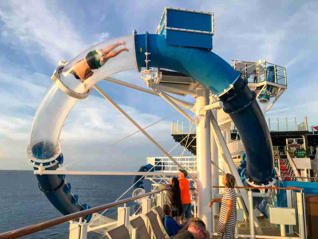 The Ocean Loops waterslide on Norwegian Encore will send you spinning over the side of the ship. (Photo by Gene Sloan/The Points Guy)