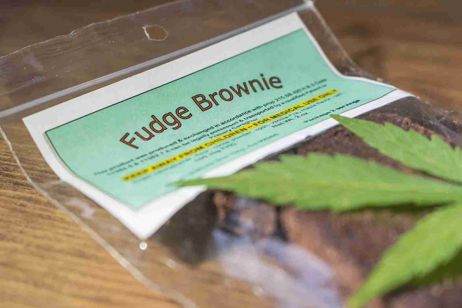Packaged fudge brownie infused with THC for medicating