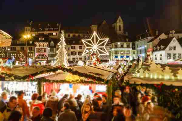 Christmas market in the old town of Basel. (Photo by Flavio Vallenari/Getty Images)