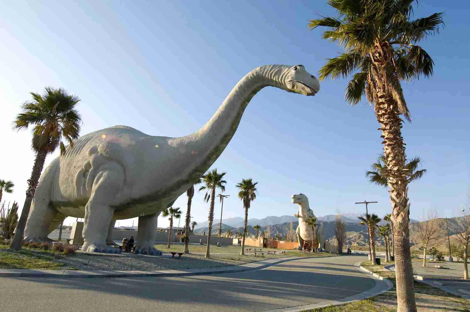 The Cabazon Dinosaur roadside attraction. (Photo by Robert Landau/Getty Images)