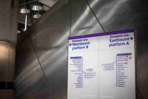 An information board for the new Elizabeth Line at Tottenham Court Road station in London as the latest developments in the Crossrail project continue to progress. (Photo by Victoria Jones/PA Images via Getty Images)