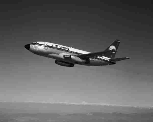 This Lufthansa Airlines Boeing 737-100, seen here on February 26, 1968, was later sold to China. (Photo by © Museum of Flight/CORBIS/Corbis via Getty Images)