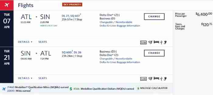 Delta itinerary with Singapore-operated flights. No miles earned for the Singapore flights.