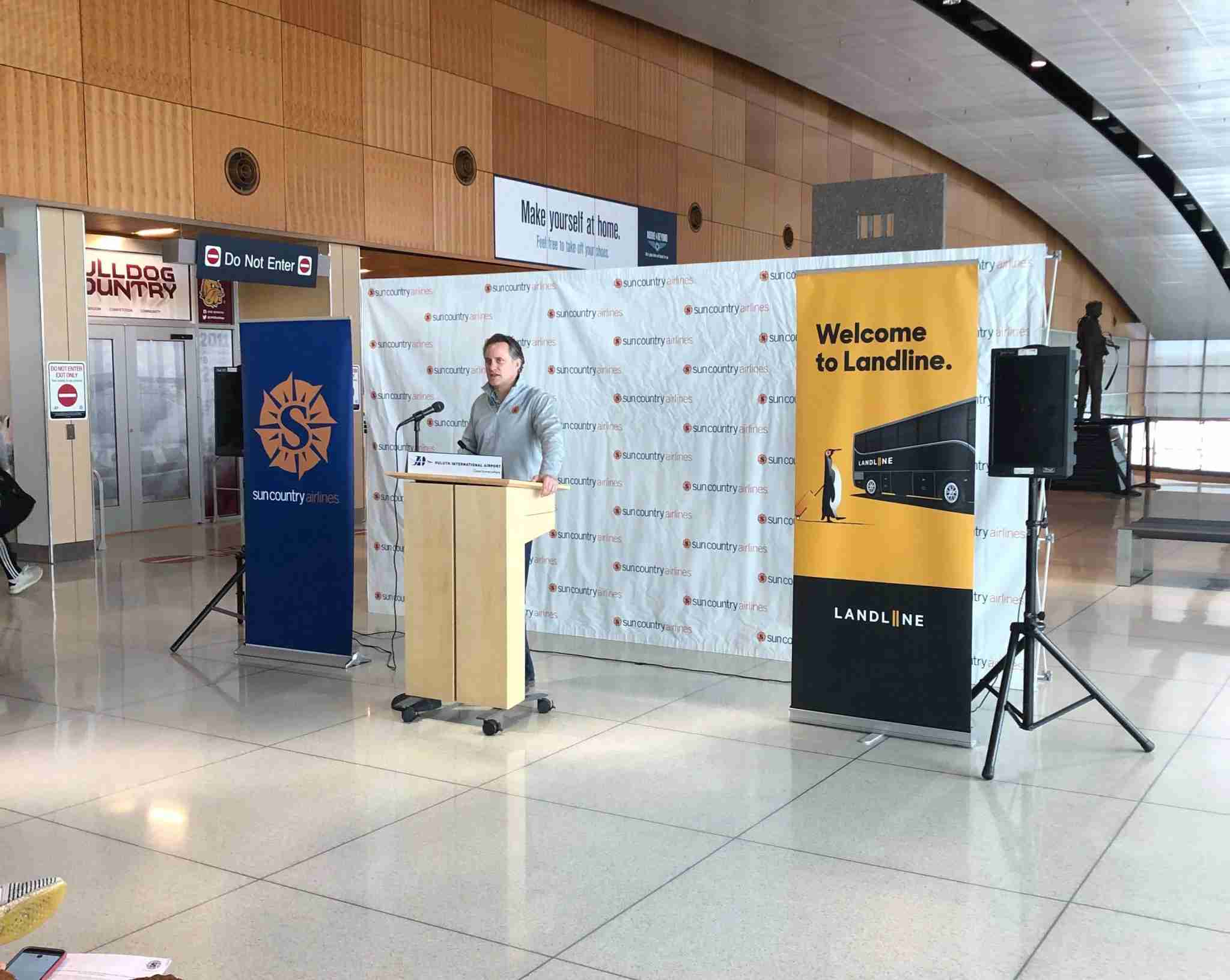 Sun Country Airlines CEO Jude Bricker speaking at the launch of the carrier