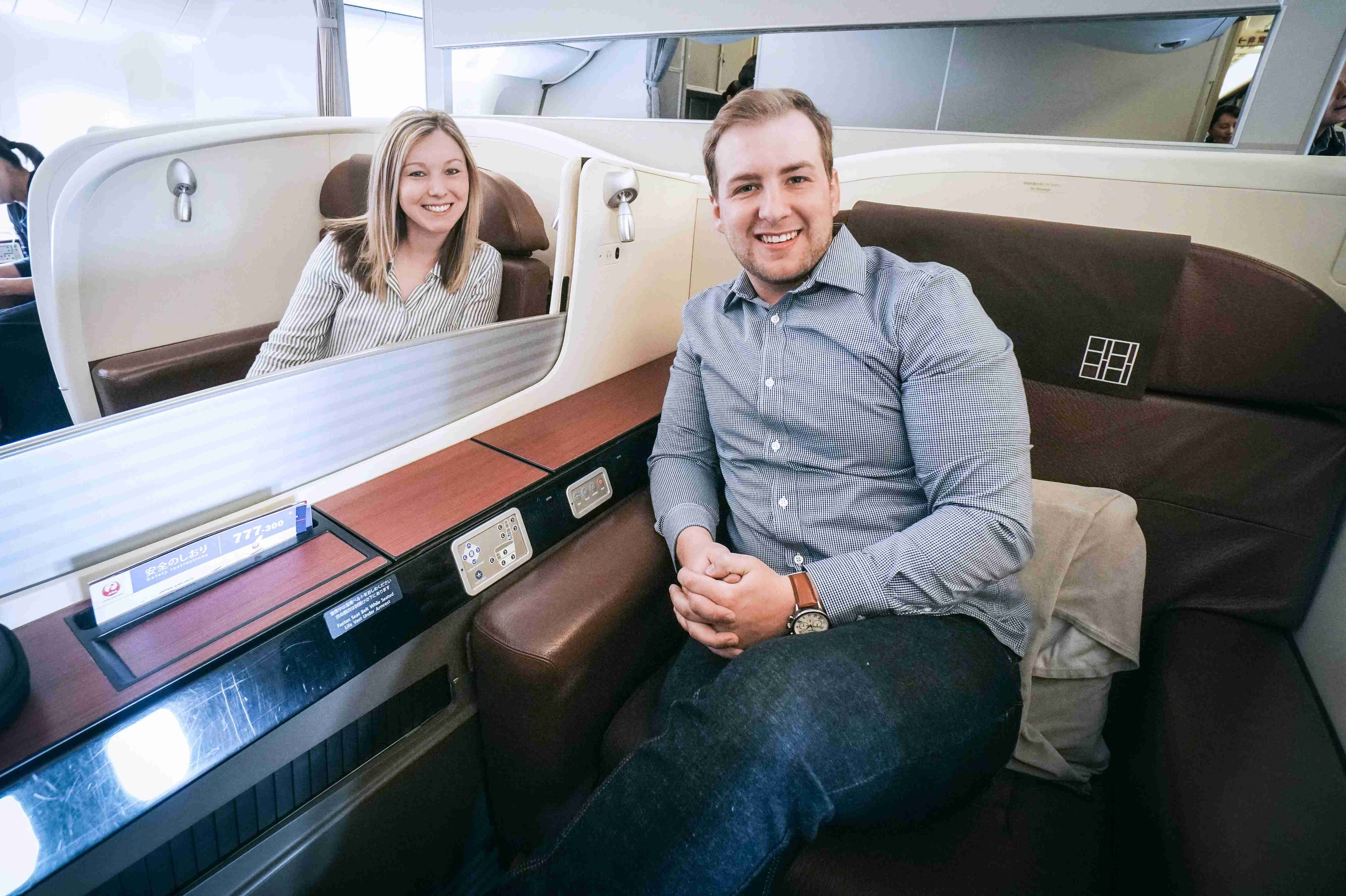 Japan Airlines first class. Photo courtesy of Kyle Parks.