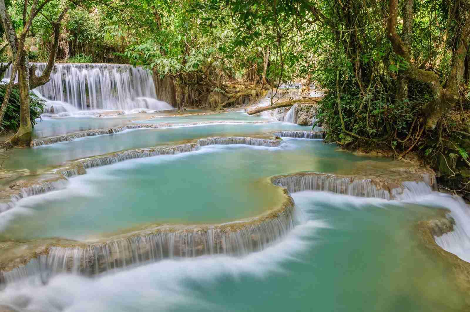 The Kuang Si Falls near Luang Prabang in Laos. (Photo by GorazdBertalanic/Getty Images)