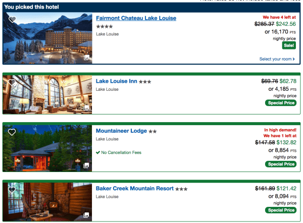 Use your Chase Ultimate Rewards points (or earn them), by booking a Lake Louise-area hotel through Chase