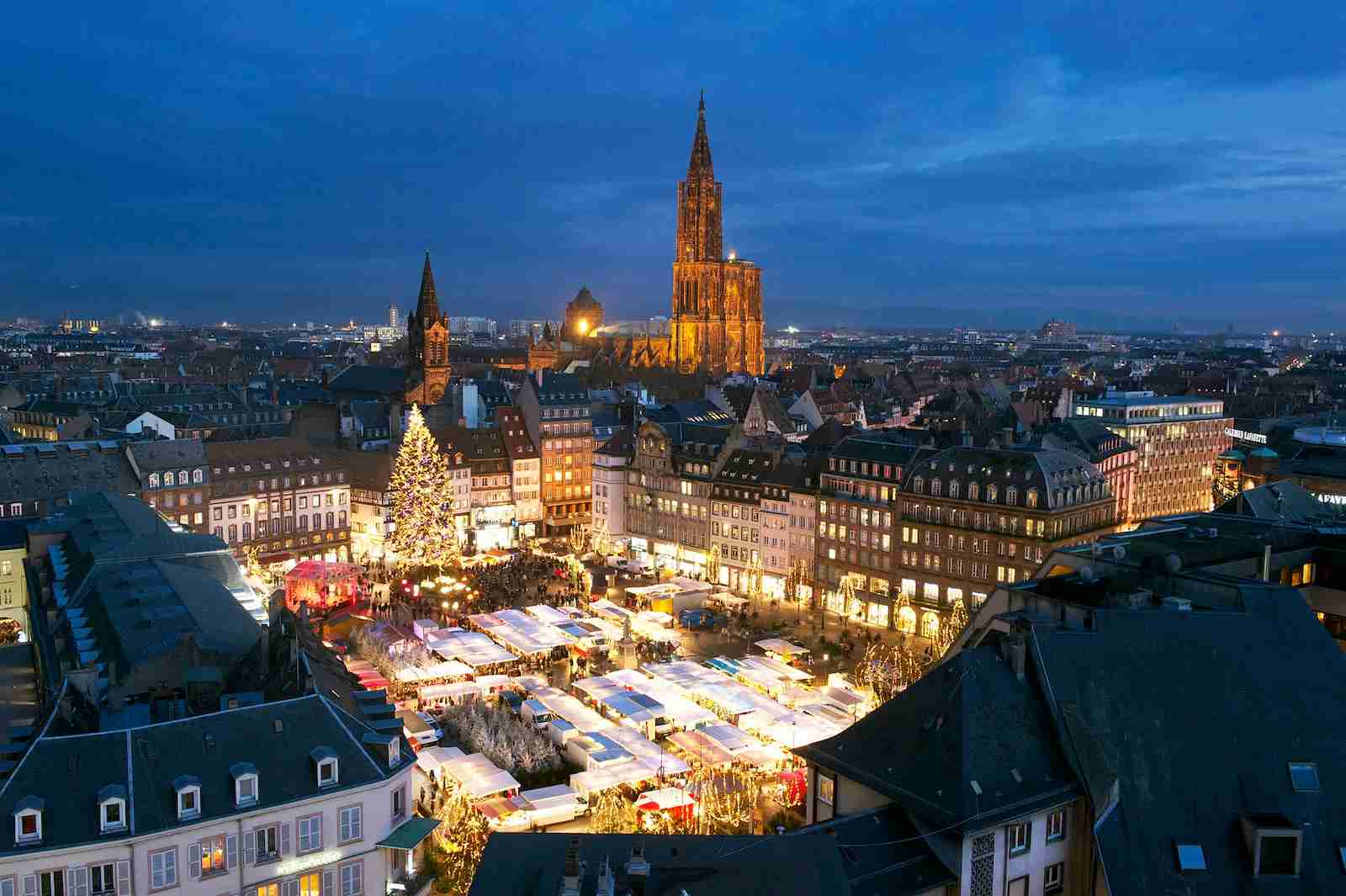 The Place Kleber Christmas Market in Strasbourg. (Photo by MATTES Rene/hemis.fr/Getty Images)