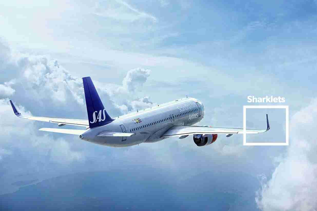 Sharklets on a Scandinavian A320. Image via SAS.