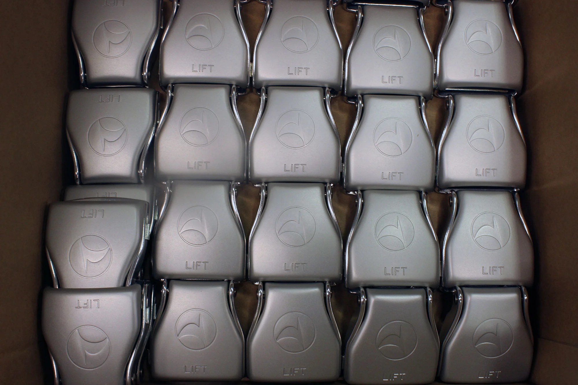 Custom seatbelt buckles for Turkish Airlines, ready for installation. Image by author.
