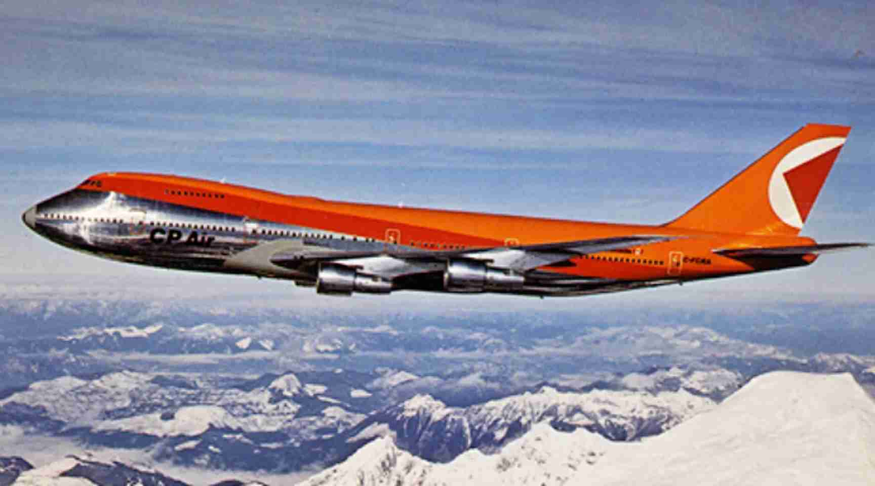 "Each of CP Air's planes carried an ""Empress"" designation. The ""Empress of Japan,"" a 747-200, is shown here over the Canadian Rockies."