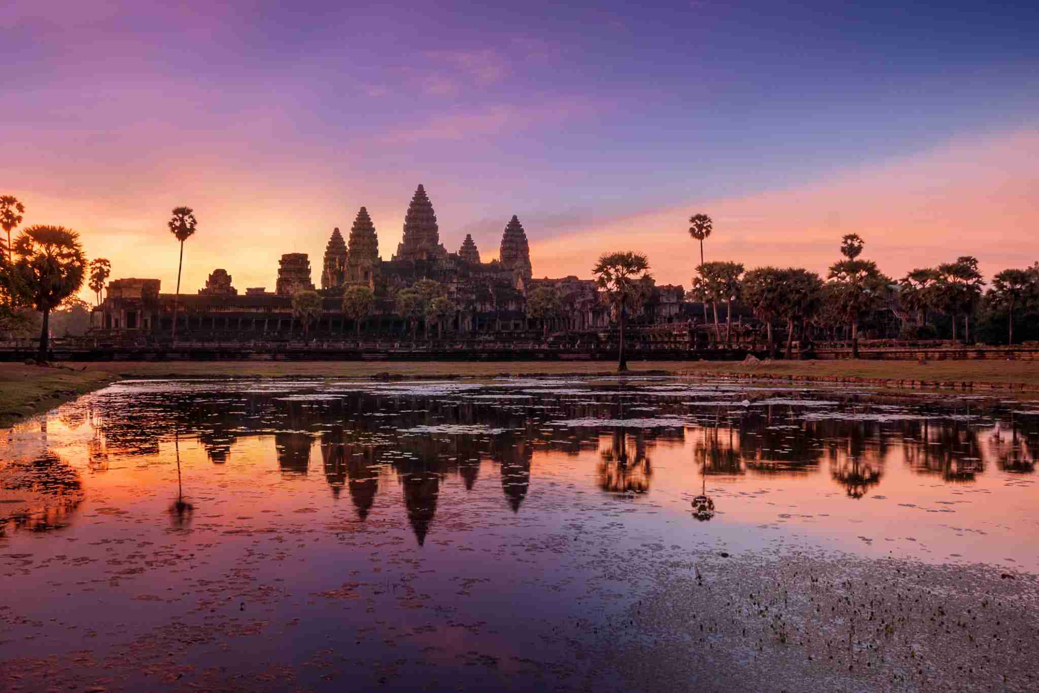 The sunrise at Angkor Wat. Photo by artherng/Getty