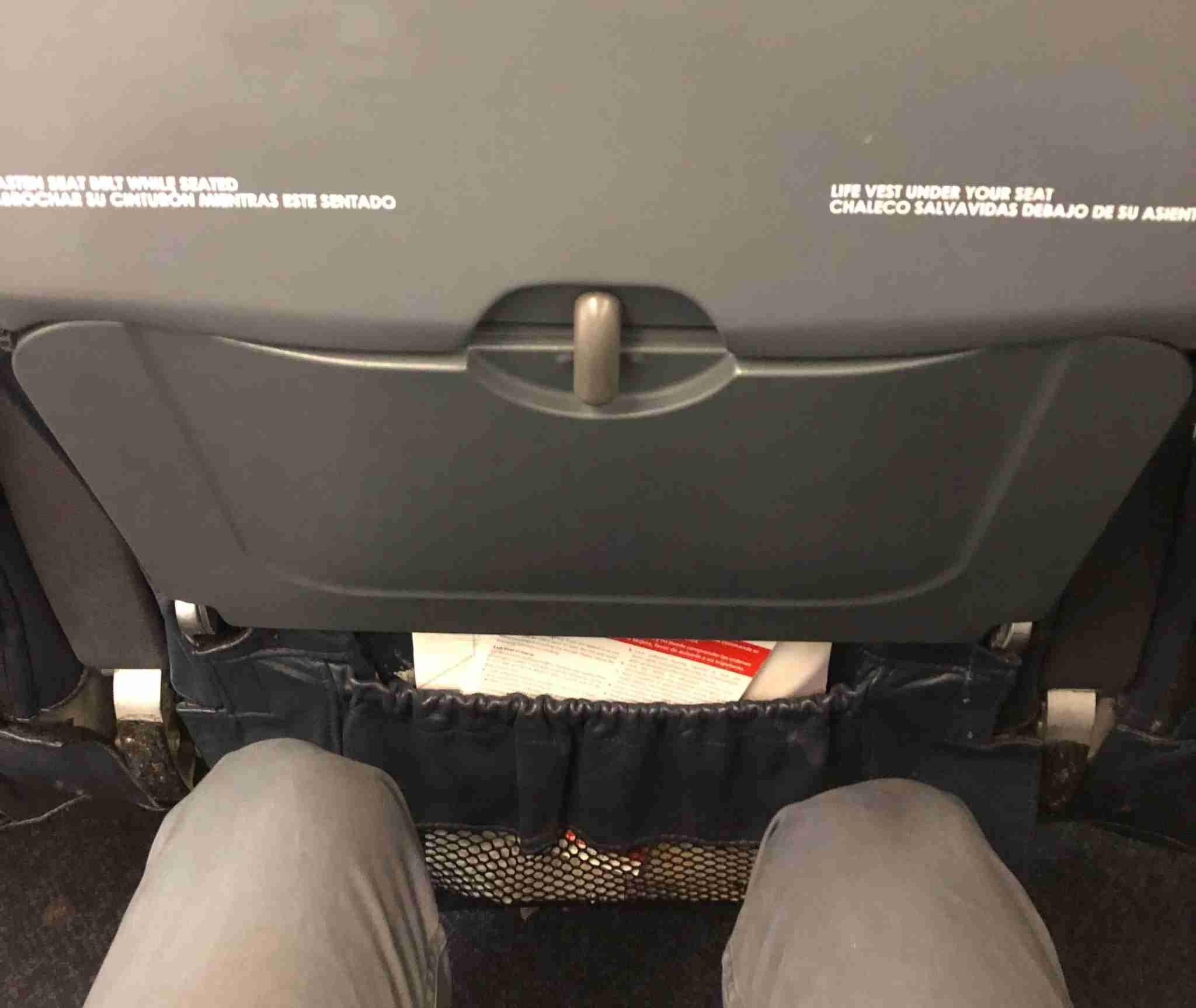 The legroom in a middle seat in Spirit