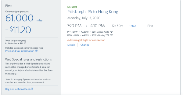 One way flights to Hong Kong in first for 61K AA miles is a heck of a deal.