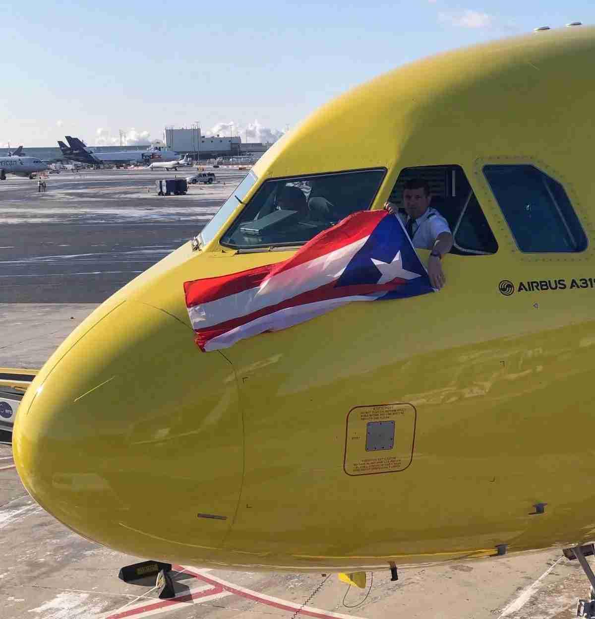 A Spirit Airlines jet at San Juan