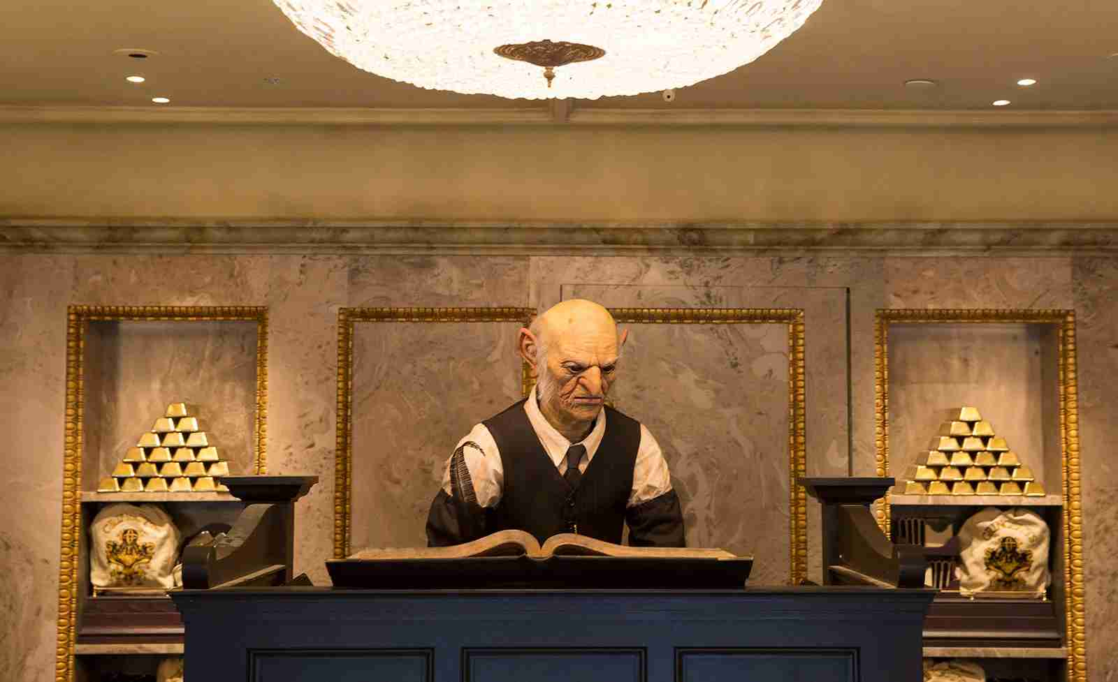 The goblin at the Gringotts Money Exchange may frighten young children. (Photo courtesy of Universal Orlando.)