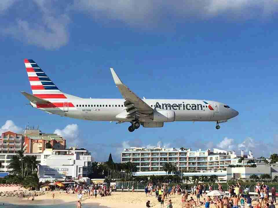 American Airlines flight lands in St. Martin. (Image courtesy Clint Henderson/The PointGuy)
