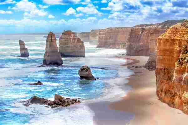 The Twelve Apostles and Orange Cliffs along Australia
