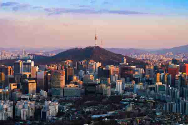 Namsan Tower and Seoul city skyline, View form Inwangsan Mountain Seoul South Korea. (Photo by  Patrick Foto/Getty Images)