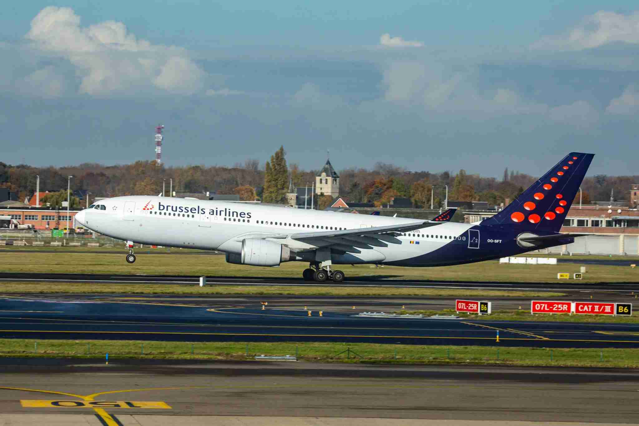 Brussels Airlines Airbus A330-200 aircraft as seen during take off from Brussels on Nov. 19, 2019. (Photo by Nicolas Economou/NurPhoto via Getty Images)