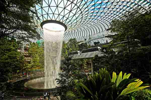 The indoor waterfall at the Jewel Changi Airport. (Photo by Suhaimi Abdullah/Getty)