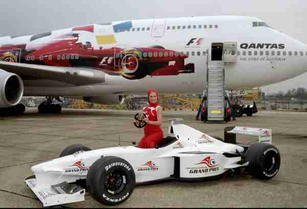 20 Jan 2000: Qantas Australian Grand Prix artwork emblazoned on a Boeing 747-400 at a briefing and photocall at Heathrow Airport in London. Mandatory Credit: Tom Shaw /Allsport