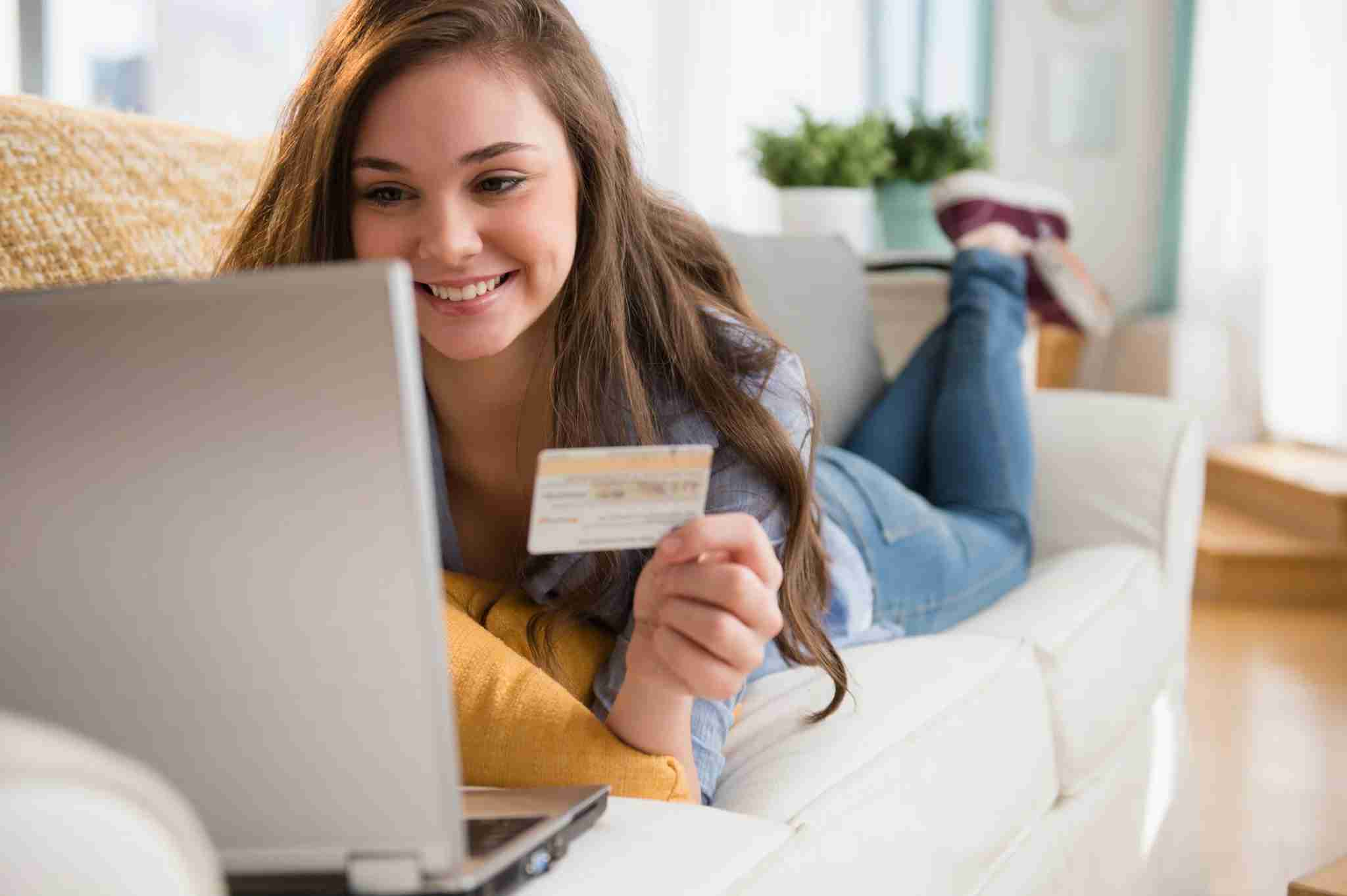 teen girl with credit card