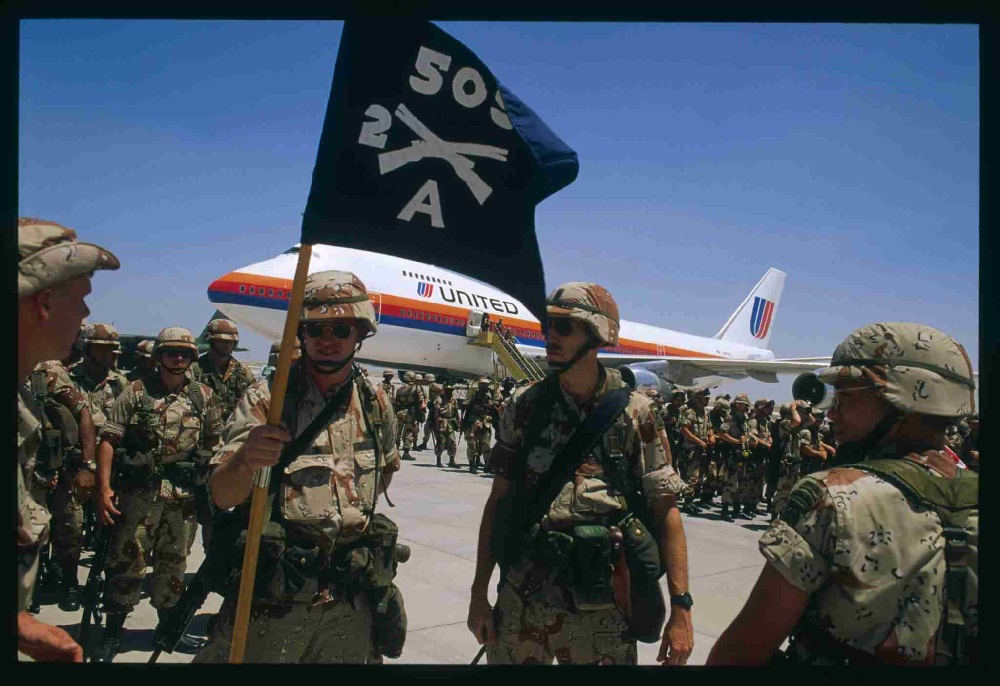 Deployment of American troops sent to face the Iraqi threat. (Photo by Jacques Langevin/Sygma/Sygma via Getty Images)